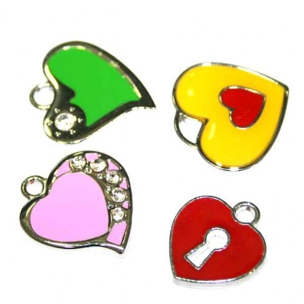 Heart and Love enamel charms